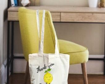 Teacher gift bag, teacher appreciation gift bag, teacher tote bag, lemon gift, personalized teacher bag, teacher appreciation, lemon bags