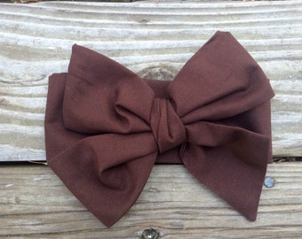 TIED, Brown Headwrap,Solid Headwrap, Pinup Headwrap, Fall, Baby Bows Toddler Headwrap, Big Bow Headwrap, Headband, Headwrap, Infant Headwrap