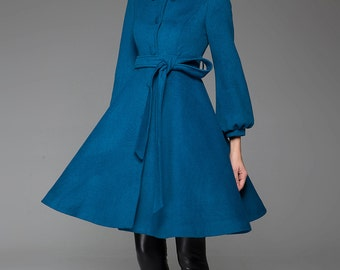 Turquoise coat, Blue coat, wool jacket, winter coat, swing coat, shawl collar, womens outfits, dress coat, warm jacket, handmade (1425)