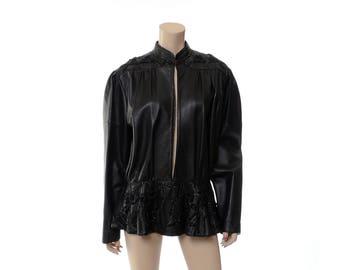 Vintage 80s Beaded Black Leather Jacket 1980s Lebaas Embellished Jacket, Cutout Peplum, Cafe Racer, Rocker Coat, Oversized Outerwear / L