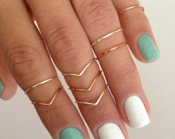 8 Midi Rings, Silver and Copper, Chevron and Simple Band Midi Rings. Mid knuckle stacking rings to wear in many combinations!
