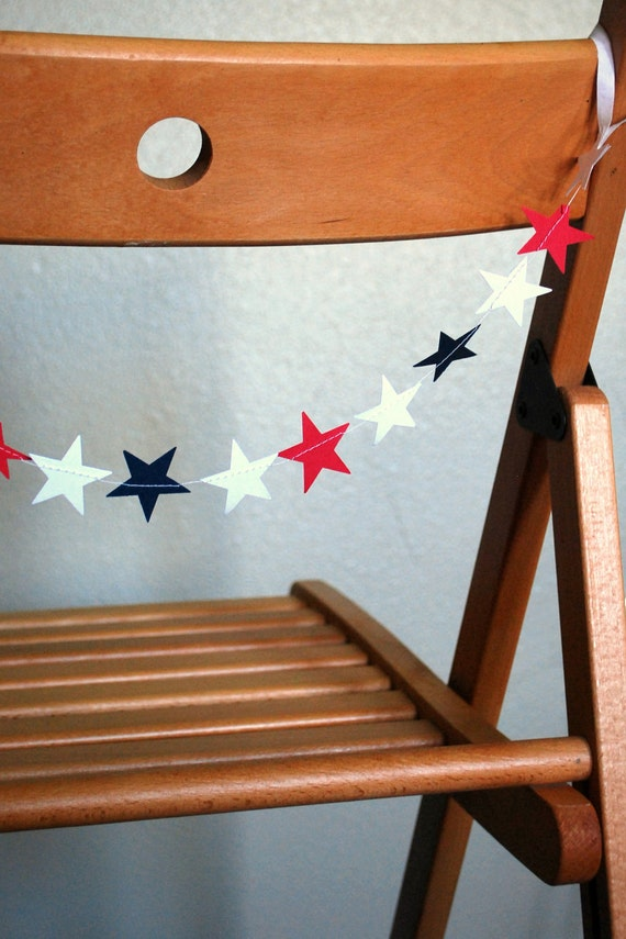 Star Chair Garland - red, white and blue - custom colors available