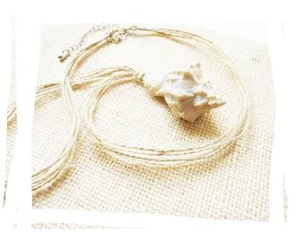 Natural organic summer necklace sea shell and hemp