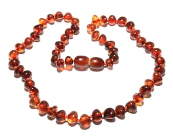 Baltic Amber Baby Child Necklace Cognac Beads 34 - 36 cm / 13.4 - 14.2 in Amber Baby Necklace