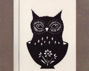 Owl in an Ice Cream Dish - Notecard