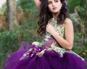 Plum Dress Gold Dress Flower Girl Dress Princess Dress Tulle Dress Lace Dress Wedding Dress Birthday Dress Tutu Dress Girls Dress