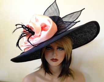 Kentucky Derby hat. Royal Ascot .Formal hat. Black and peach wide brim hat for Del Mar races, wedding or other occasions