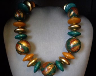 Chunky Wood & Lucite Beads Necklace - Vintage - Statement Necklace