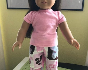 "18"" Doll Pajamas.  Pink short sleeve top and White/Pink/Turquoise Cat/Mouse pants Will fit American Girl dolls"