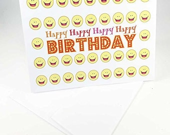 18 Happy Happy Smiley Face Birthday Cards - Blank Gift Birthday Cards - Boxed Set - 14299