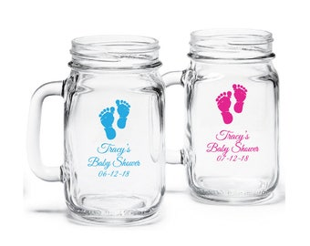More Colors. 24 Pcs Baby Feet Personalized Mason Mugs Baby Shower Favors ...