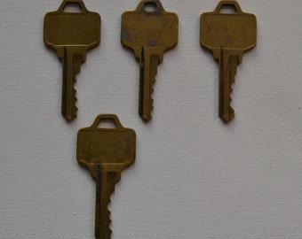 Set of 4 Original Vintage Salvaged Industrial Gold Brass Plated Keys