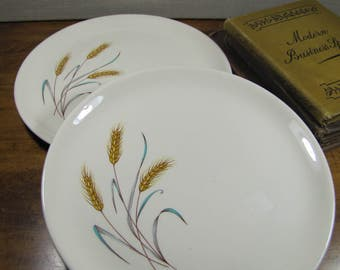 Two (2) Salem Small Dinner Plates - Deep Yellow and Brown Wheat - Blue and Gray Leaves