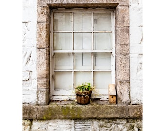 Bountifully Fine Art Photography Rustic cottage stone window sill Scotland Stirling historic simple Shabby chic neutral colors beige taupe
