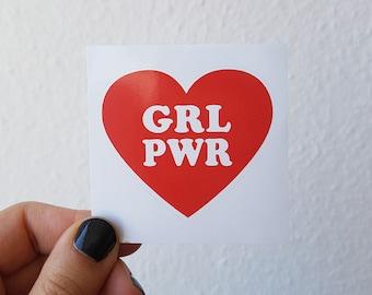 GRL PWR Feminist Red Heart Sticker - Vinyl Illustrated Feminist Gift Weatherproof Waterproof Decal Bumper Sticker Flair / 6x6cm/ Gift Idea