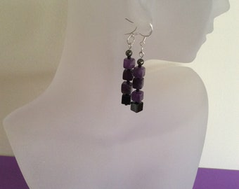 Mother's Day Gift, Amethyst and Hematite Cubed Crystal Earrings, Gemstone Jewellery for Grounding, Pyrite, Seed  Beads, Sterling Silver,