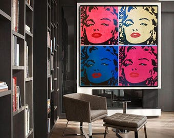 Marilyn MONROE Painting Wall Art Home Decor Art Gift Portrait Painting Wall Art Canvas Andy Warhol Modern Art Canvas Pop Art Painting