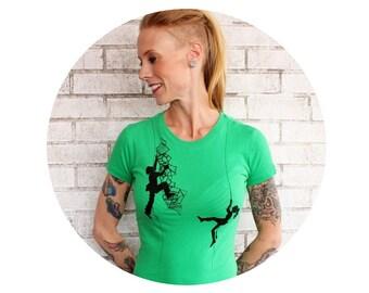 Rock Climbing Tshirt Short Sleeved Climber Graphic Tee Shirt Ladies FITTED Cotton Crewneck Screenprinted Shirt Bright Kelly Green Junior Fit