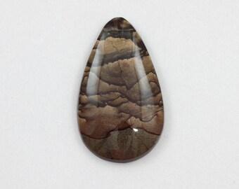 Picture Jasper Cabochon 23x40 Teardrop Deschutes Oregon Biggs Jasper L21 Vintage Hand Cut Agate