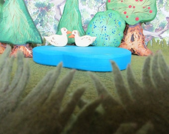 Little Wooden Pond - Waldorf Inspired toy, all natural toys with beeswax finish