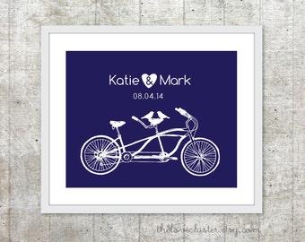 Tandem Bike Wedding Print - Personalized Aniversary Print - Tandem Bike and Birds Poster - Wedding Date Wall Art - Navy Blue
