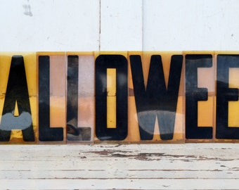 """Vintage Halloween Sign Marquee Word Letters Plastic Black Yellow Orange 9"""" Acrylic Aged Patina Wall Window Hanging Fall Decoration"""