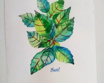 Basil watercolor painting, original watercolor, kitchen wall art, restaurant art, kitchen decor, herb painting, basil painting