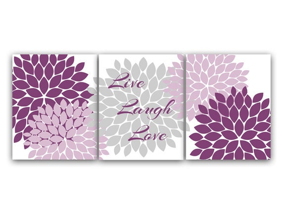 Home Decor Wall Art Live Laugh Love Purple And Gray