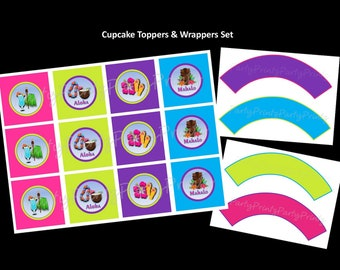 Instant Download - Printable - Hawaiian Luau - Cupcake Toppers & Cupcake Wrappers Set