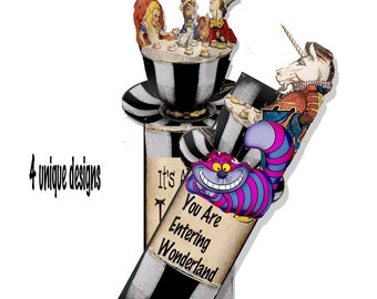 Alice in Wonderland Steampunk printable bookmarks instant download