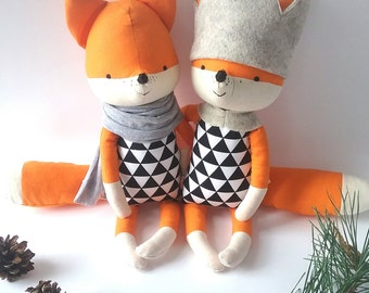choose your cotton FOX with no paw prints. made-to-order. eco fox toy. stuffed fox toy. minimal eco toy
