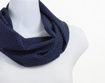 Short  Infinity Scarf - Rich Blue with Dark Blue Polka Dots ~ SH234-S5