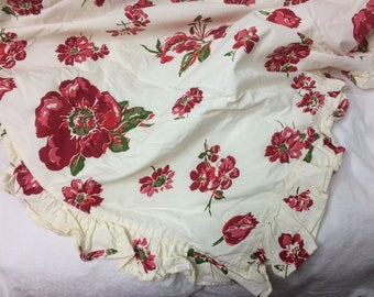 "Anthropologie Tablecloth // Red on Ivory Floral // Ruffled // Made in India // 100% Cotton // 54"" x  94"""