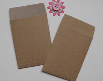 Kraft Coin envelopes, Gift card envelopes, 3 by 4 inches, Paper ephemera, Paper embellishments, Seed envelopes, Money envelopes, Sets of 10
