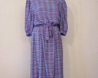 Vintage dress, 1980s dress, plaid dress, vintage clothing, large