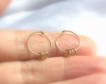 Gold hoops - Thin gold hoops - Gold filled hoops - Tiny gold hoop earrings - Thin gold hoop earrings - Tiny Hoop Earrings - Choose your size