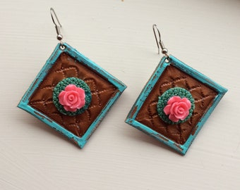 Tooled Leather Earrings with Stingray Detail