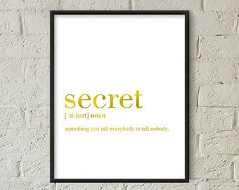 Secret Definition Print Gold, Secret Wall Art, Secret Printable Poster, Secret Quote Printable (W0141)