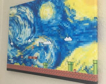 starry night in super mario world - wrapped canvas print wall art