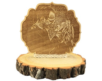 Custom Engraved Photo Wood Cake Topper - Add a Personalized Photo Your Rustic Wood Wedding Cake Topper - 104130