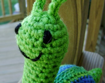 Snippy the Snail Amigurumi Crocheted green Stuffed Toy made to order