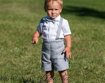 Boy shorts with suspenders Ring bearer outfit Baby boy linen suit First birthay clothes Baptism overalls Diaper cover set Rompers light Gray