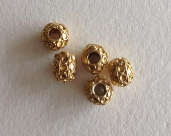 Beads round gold metal 5 x