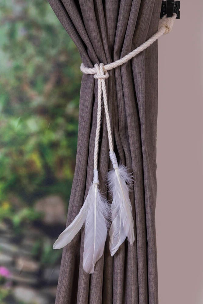 Manila Rope Feather Tassel Curtain Tie Backs Shabby Chic
