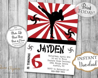 INSTANT DOWNLOAD - Ninja Birthday Invitation - Karate Tae Kwon Do Invite - Boy Ninja Warrior Party - Editable Invite - Red Black - 0201
