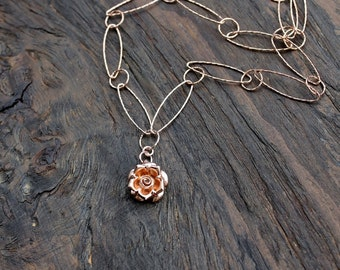 Woman Within Rose Award necklace, Rose gold necklace, handmade rose gold necklace