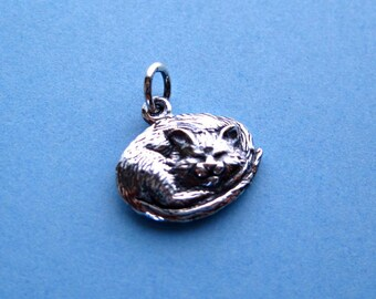 Sterling Silver Sleeping Cat Pendant or Charm