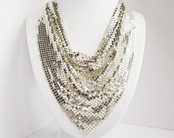 Whiting & Davis Signed Vintage Silver Tone Mesh Bib Necklace