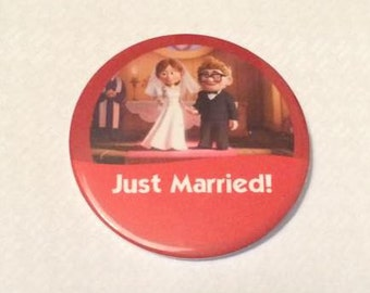 """Carl & Ellie from Up """"Just Married!"""" Disney Celebration Inspired Button/Pin/Badge"""