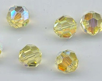 24 orgeous Swarovski crystals - art 5000 - 6 mm - jonquil AB